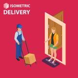Concepto isométrico plano del vector de la entrega rápida El mensajero permanece con el paquete cerca de la puerta y da el paquet Imágenes de archivo libres de regalías
