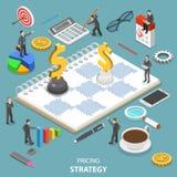 Concepto isométrico plano del vector de la estrategia de precios libre illustration