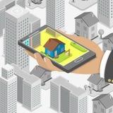 Concepto isométrico de la búsqueda en línea de las propiedades inmobiliarias Fotografía de archivo libre de regalías