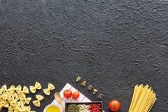 Concepto italiano de las pastas Copie el espacio Imagen de archivo libre de regalías