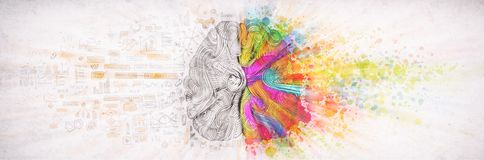 Concepto izquierda-derecha del cerebro humano, ejemplo texturizado Parte izquierda y derecha de cerebro humano, emotial creativos stock de ilustración