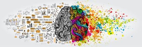 Concepto izquierda-derecha del cerebro humano La parte y la lógica creativas parte con el social y el garabato del negocio libre illustration