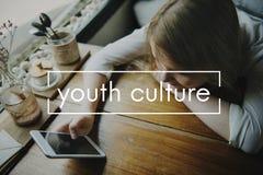 Concepto joven de la generación de los adolescentes de la niñez de la cultura joven Foto de archivo libre de regalías