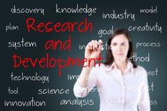 Concepto joven de la investigación y desarrollo de la escritura de la mujer de negocios Foto de archivo