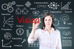 Concepto joven de la visión de la escritura de la mujer de negocios. Imágenes de archivo libres de regalías