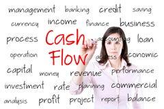 Concepto joven del flujo de liquidez de la escritura de la mujer de negocios Aislado en blanco Fotos de archivo