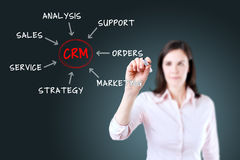Concepto joven del proceso de la gestión de la relación del cliente del dibujo de la empresaria. Imagenes de archivo