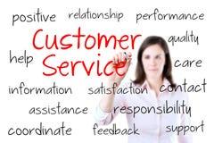 Concepto joven del servicio de atención al cliente de la escritura de la mujer de negocios. Fotografía de archivo libre de regalías