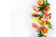 Concepto judío del día de fiesta del Año Nuevo del hashanah de Rosh Símbolo tradicional Manzanas, miel, granada Copie el espacio  Fotografía de archivo