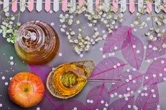 Concepto judío, miel y manzana del Año Nuevo de Rosh Hashanah fotografía de archivo