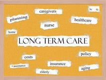 Concepto a largo plazo de la palabra de Corkboard del cuidado Imagen de archivo