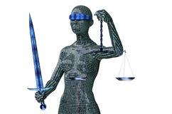 Concepto legal del juez del ordenador, justicia de la señora aislada en blanco ilustración del vector
