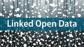 Concepto ligado de Open Data con el gráfico del conocimiento en el fondo libre illustration