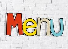 Concepto limpio del fondo del texto de la sola palabra de la pared de ladrillo del menú Fotografía de archivo libre de regalías