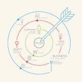 Concepto linear plano del esquema de la blanco del negocio de Infographic Vector Imagen de archivo