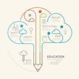 Concepto linear plano del esquema de la nube del lápiz de la educación de Infographic Fotos de archivo