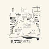 Concepto linear plano del esquema del casco de la construcción de Infographic Foto de archivo libre de regalías