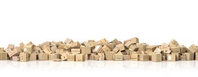 Concepto logístico Pila grande de cajas de cartón ilustración del vector