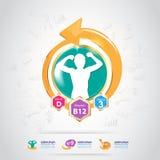 Concepto Logo Gold Kids del calcio y de la vitamina de Omega Imagenes de archivo