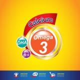 Concepto Logo Gold Kids del calcio y de la vitamina de Omega de los niños Foto de archivo