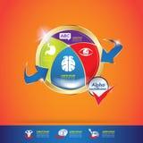 Concepto Logo Gold Kids del calcio y de la vitamina de Omega de los niños Foto de archivo libre de regalías