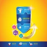 Concepto Logo Gold Kids del calcio y de la vitamina de Omega de los niños Imágenes de archivo libres de regalías