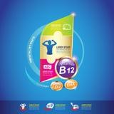 Concepto Logo Gold Kids del calcio y de la vitamina de Omega de los niños Fotos de archivo libres de regalías