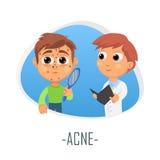 Concepto médico del acné Ilustración del vector Ilustración del Vector