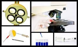 Concepto médico del collage de la investigación científica Imagen de archivo libre de regalías