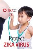 Concepto médico del miedo del embarazo de Zika y concepto del peligro del virus Es Foto de archivo
