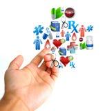 Concepto MÉDICO Mano e iconos médicos Fotografía de archivo libre de regalías