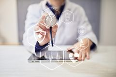 Concepto MÉDICO Protección sanitaria Tecnología moderna en medicina Foto de archivo