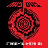 Concepto mínimo del vector para el día internacional de los trabajadores Imagen de archivo libre de regalías