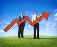 Concepto móvil de Business Success Ambition del hombre de negocios de la flecha Foto de archivo libre de regalías