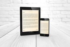 Concepto móvil de la biblioteca de la lectura y de la literatura stock de ilustración