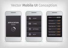 Concepto móvil de la interfaz de usuario del vector gris y anaranjado Fotografía de archivo libre de regalías