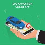Concepto móvil de la navegación GPS, del viaje y del turismo Vea un mapa en el teléfono móvil en los coordenadas de GPS del coche Fotografía de archivo