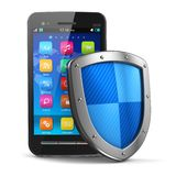 Concepto móvil de la protección de la seguridad y del antivirus Foto de archivo