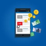 Concepto móvil de la publicidad Imágenes de archivo libres de regalías