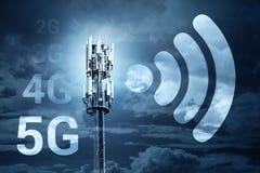 concepto móvil de la tecnología de la comunicación inalámbrica de la conexión a internet de la velocidad rápida 5G fotografía de archivo libre de regalías