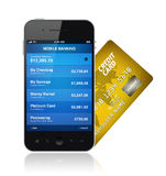 Concepto móvil de las actividades bancarias Imágenes de archivo libres de regalías