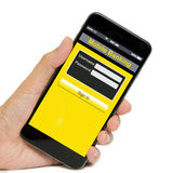Concepto móvil de las actividades bancarias Fotos de archivo libres de regalías