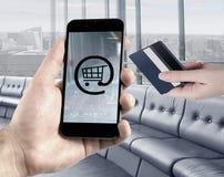 Concepto móvil de las actividades bancarias Fotografía de archivo