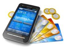 Concepto móvil de las actividades bancarias y de las finanzas Foto de archivo libre de regalías