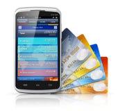 Concepto móvil de las actividades bancarias y de las finanzas ilustración del vector