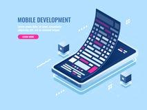 Concepto móvil del desarrollo, rollo del mensaje, programación para el teléfono móvil, vector isométrico del uso del smartphone ilustración del vector