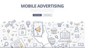 Concepto móvil del garabato de la publicidad stock de ilustración
