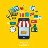 Concepto móvil del pago con los elementos relacionados Fotografía de archivo libre de regalías