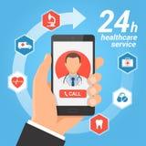 Concepto móvil del servicio de la atención sanitaria stock de ilustración