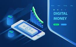 Concepto móvil del vector de los pagos Acuse recibo de los datos de las estadísticas, notificación en la transacción financiera,  ilustración del vector